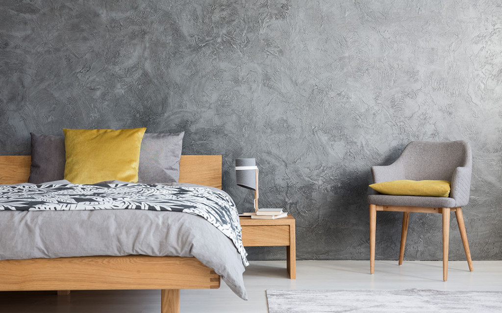 Bedroom-wall-painted-with-grey-textures