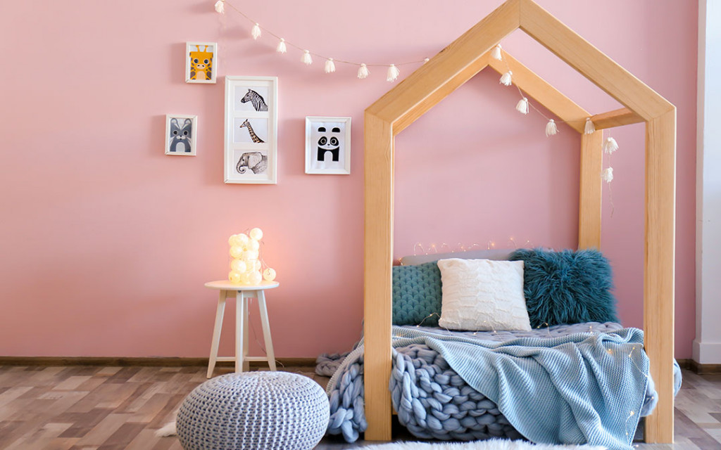 Kids-bedroom-painted-with-soft-pink-colour