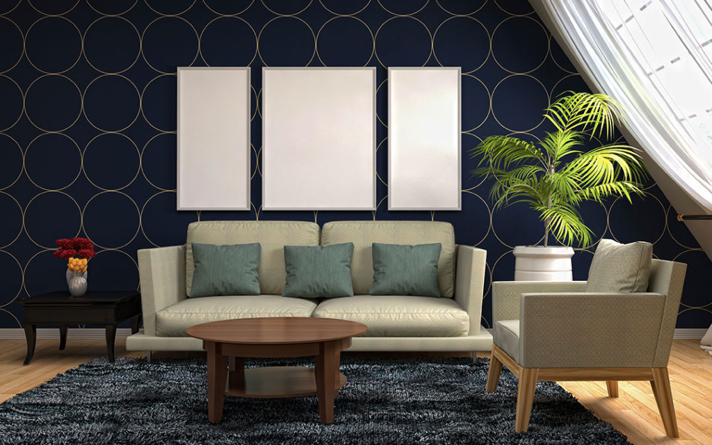 bedrrom-wall-coloured-with-sapphire-and-gold-patterns