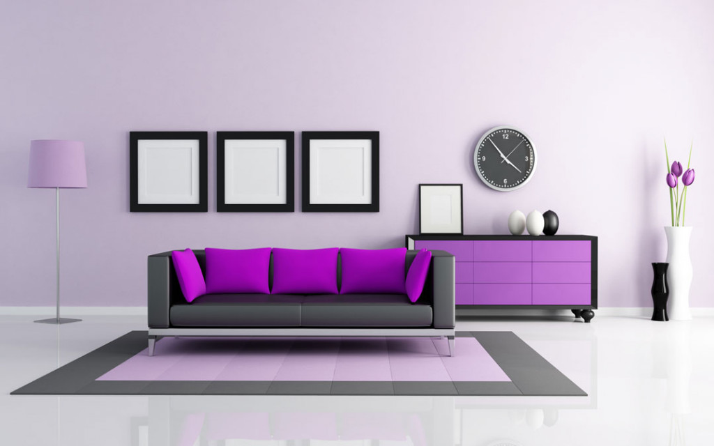paint-colour-combination-of-Purple-and-Gunmetal-Grey-for-living-room