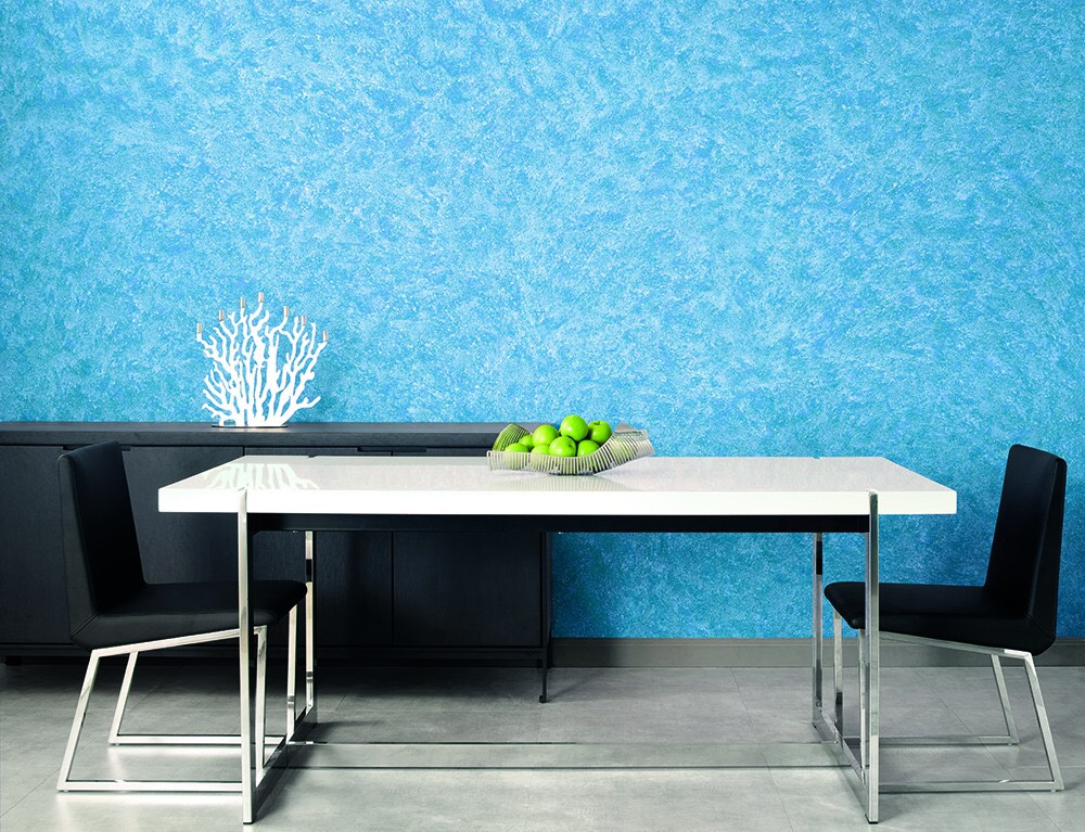 Wall-texutres-painted-with-blue-colour-for-dining-room