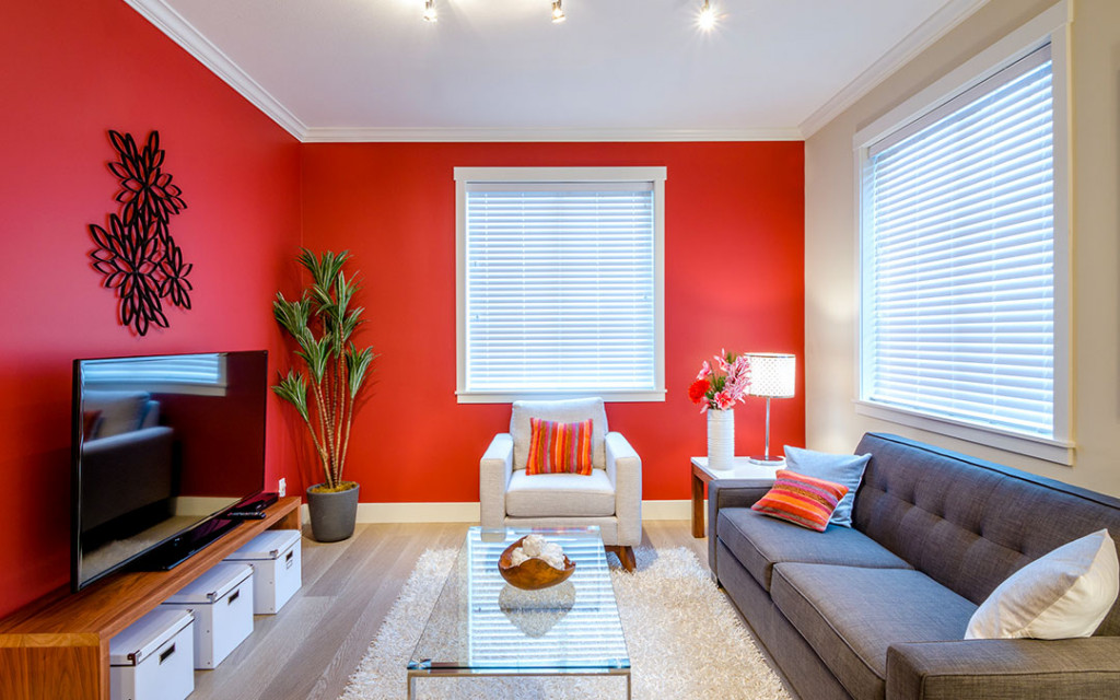 Simple-living-room-painted-with-red-colour