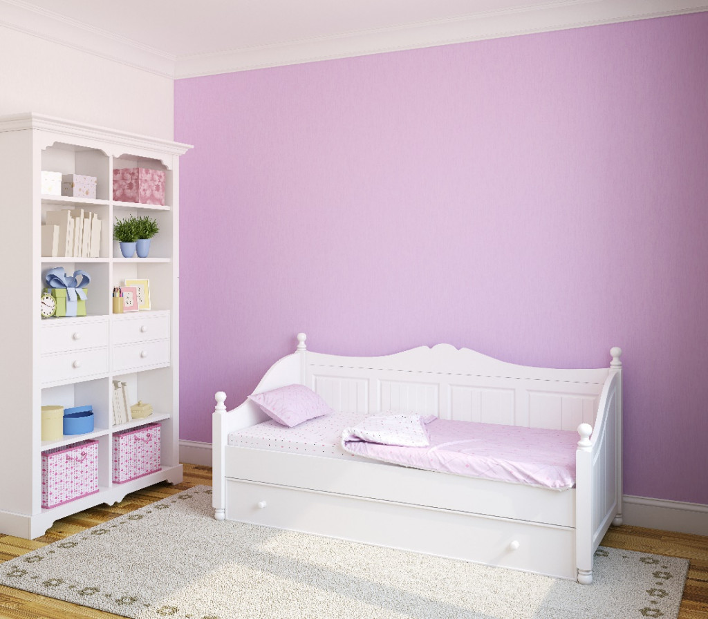 purple and daphne red color kids room wall paint