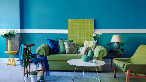 Blue color interior wall paint