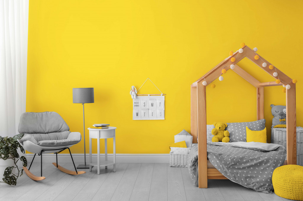 Ultimate Grey and Illuminating yellow color Wall paint