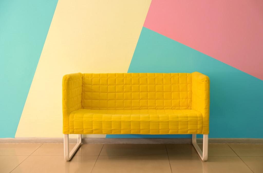 Blue + Pink + Beige interior color